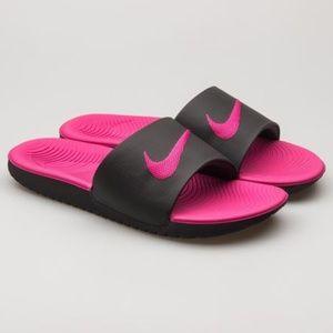 Nike Kawa Pink and black embroidered swoosh slides
